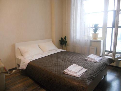 Кровать или кровати в номере Studio on Pulkosvkoe 14G