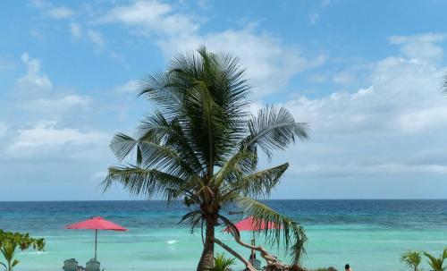 En strand i nærheden af resortet