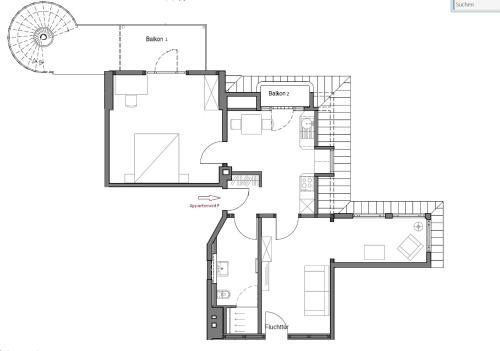 The floor plan of Appartements Am Kurpark