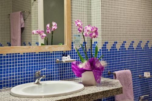 A bathroom at Hotel Libyssonis