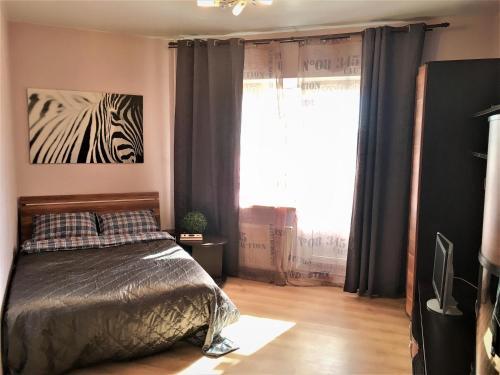 Кровать или кровати в номере Lenskaya apartment