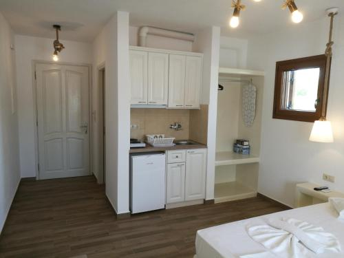 A kitchen or kitchenette at Maria's Rooms & Studios