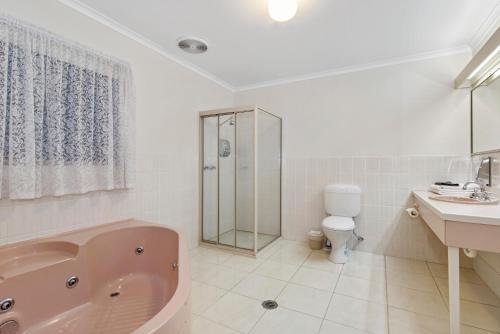 A bathroom at Golden Square Motor Inn