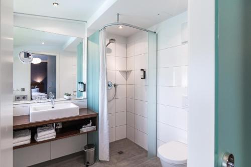Ein Badezimmer in der Unterkunft Seehörnle Bio Hotel & Gasthaus
