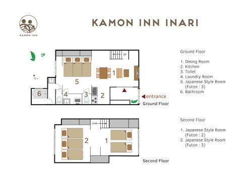The floor plan of Kamon Inn 稲荷 歴史的な京都の町家貸切