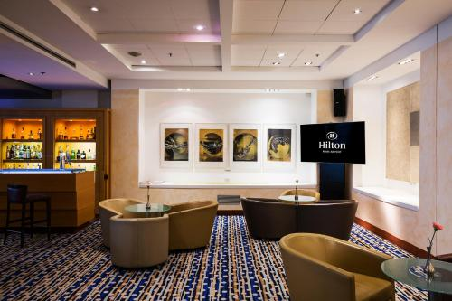 The lounge or bar area at Hilton Rome Airport