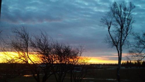 The sunrise or sunset as seen from the country house or nearby