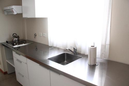Una cocina o kitchenette en De Los Arroyos Apart Hotel