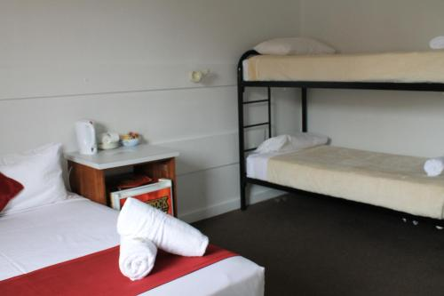 A bunk bed or bunk beds in a room at Hotel Beach House Nambour