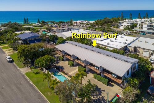 A bird's-eye view of Unit 1 Rainbow Surf - Modern, two storey townhouse with large shared pool, close to beach and shop