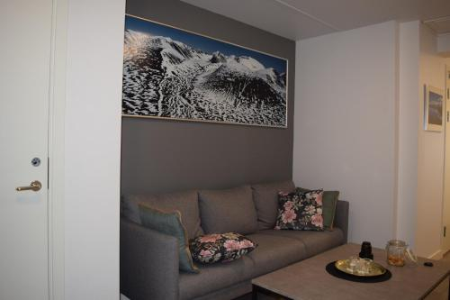 A seating area at Abisko Hostel