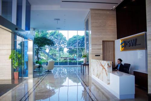 The lobby or reception area at PSW Antasari Hotel