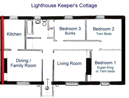 The floor plan of The Lighthouse Keeper's Cottage