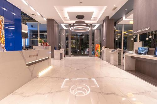 The lobby or reception area at Grand Picasso Hotel