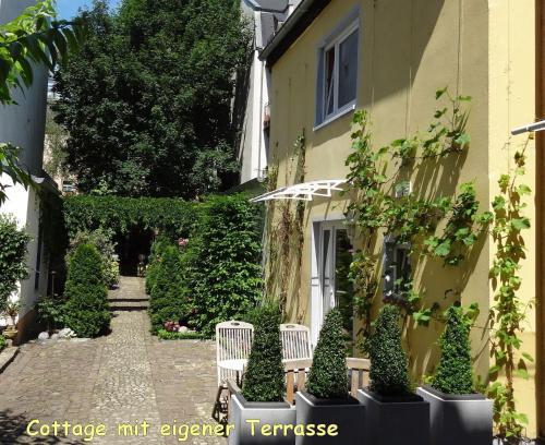 Ein Garten an der Unterkunft City-Ferienwohnungen-Dresden & Cottage im Garten - zentral in der Neustadt Louisenstrasse