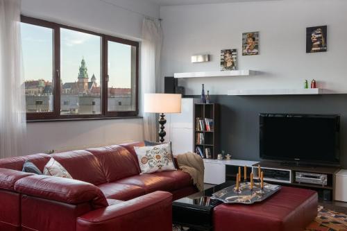 Posezení v ubytování Luxury Apartment with Wawel Castle exclusive view