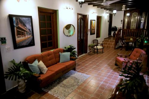 A seating area at Fortaleza Suites Old San Juan
