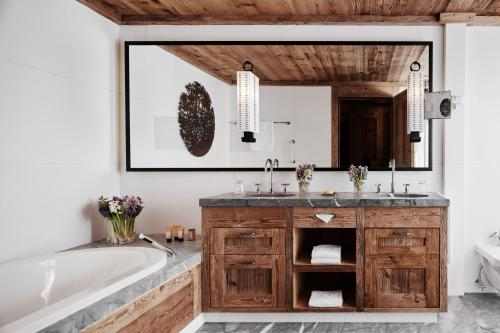 A bathroom at The Alpina Gstaad