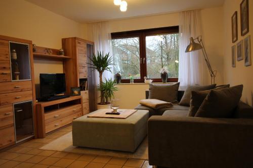Ein Sitzbereich in der Unterkunft Ferienwohnung am Baldeneysee