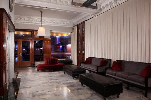The lobby or reception area at The Mosser Hotel