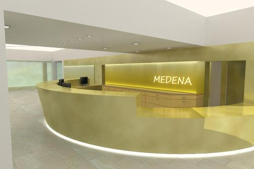 The lobby or reception area at Hotel Medena Budget