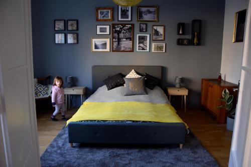 Postel nebo postele na pokoji v ubytování Bleak House - Bauhaus home in the heart of Budapest