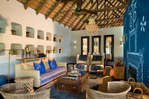 A seating area at Royal Chundu Island Lodge