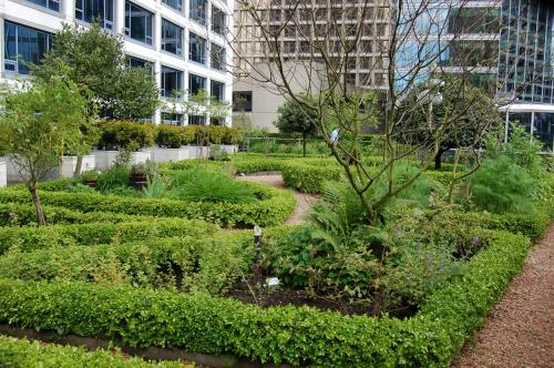A garden outside Fairmont Waterfront