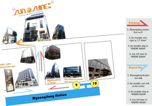 The floor plan of Myeongdong Sunshine Guesthouse