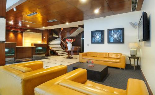 The lobby or reception area at Hotel Aura