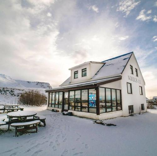 Vík Hostel during the winter