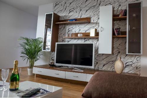 Televízia a/alebo spoločenská miestnosť v ubytovaní SGL apartment Liptovska