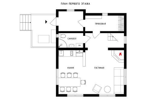 The floor plan of Domik Gornolyzhnika