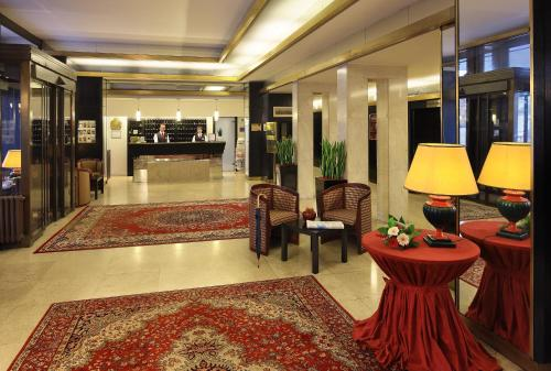 The lobby or reception area at Grandhotel Brno