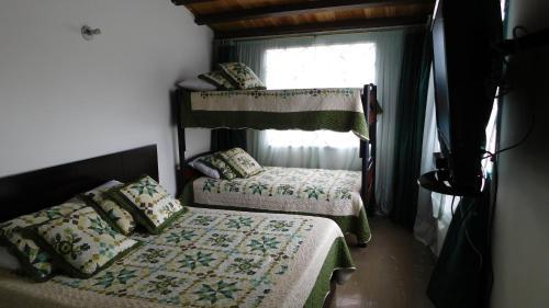 A bunk bed or bunk beds in a room at Hostal familiar la Alborada