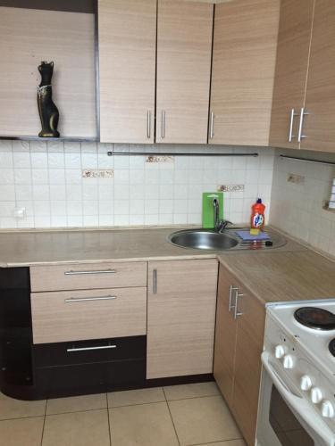A kitchen or kitchenette at Апартамент в центре Бердска
