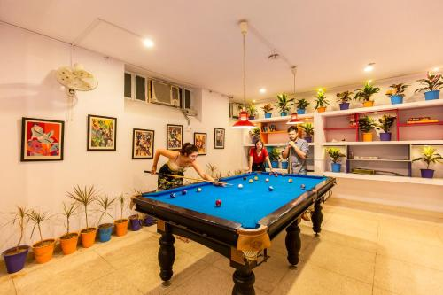 A billiards table at goSTOPS Jaipur