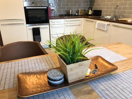 A kitchen or kitchenette at Luxury Waterfront Apartment Belfast City Titanic Quarter