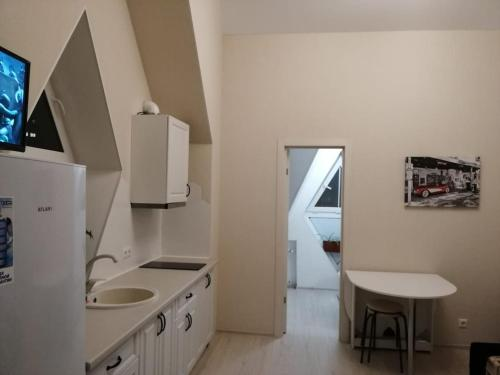 A kitchen or kitchenette at Apartment in Glazynino
