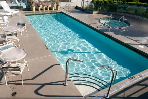 The swimming pool at or near Vancouver Airport Marriott Hotel