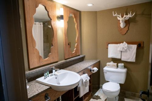 A bathroom at Banff Caribou Lodge and Spa