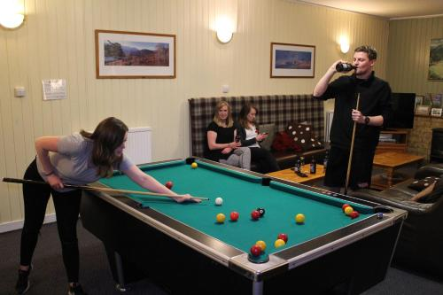 A pool table at Cairngorm Lodge Youth Hostel
