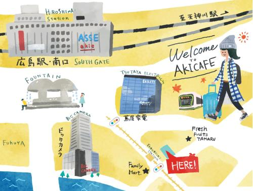 The floor plan of Guesthouse Akicafe Inn