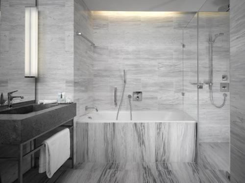 A bathroom at The Emblem Hotel