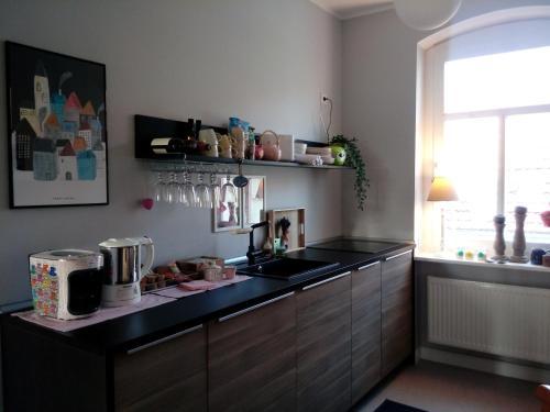 A kitchen or kitchenette at Ferienwohnung Linsenstrasse 13