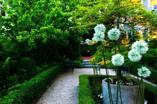 A garden outside Union Street Inn