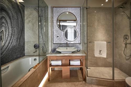 A bathroom at Dorsett Wanchai, Hong Kong