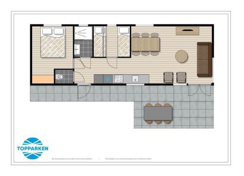 The floor plan of PDIJ Comfort 5 personen