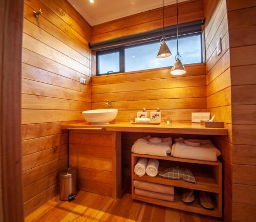 A bathroom at Patagonia Camp