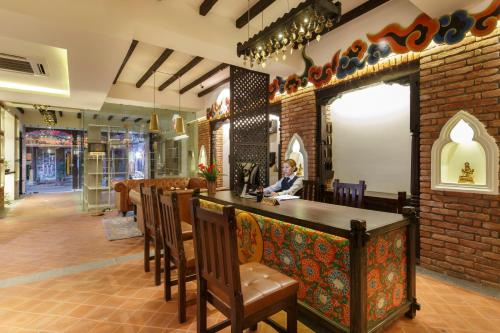 The lobby or reception area at Hotel Thamel House
